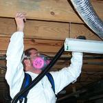 HEPA Vacuuming Floor Joists, the first step in the Precleaning process.